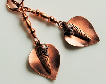 Shiny Copper Leaf Earrings