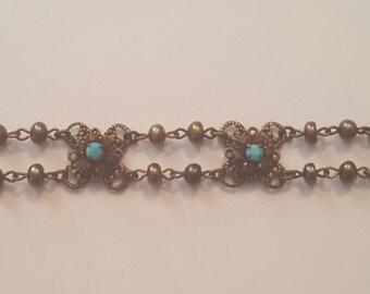 Small Metal and Blue Vintage Bracelet
