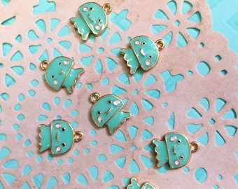 Teal and Gold Jellyfish Enamel Charms
