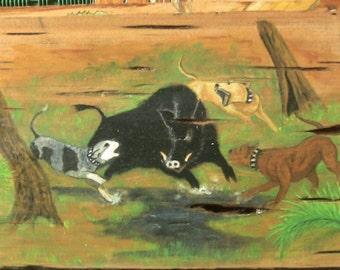 Wild Hog & hunting dogs