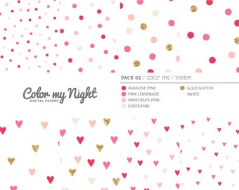 Digital Paper Pink 'Pack02' Gold Glitter & Pink Round and Heart Confetti Backgrounds for Scrapbook, Party Invitations, Crafts...