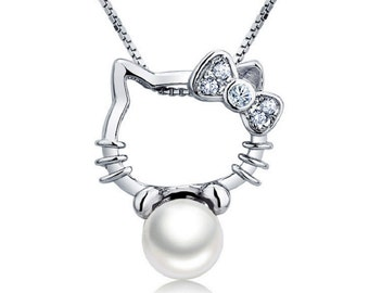 "Hello Kitty with Freshwater Pearl 925 Sterling Silver Pendant with 18"" Sterling Silver Necklace"