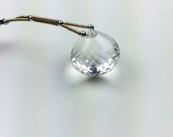 Faceted Tear Drop Crystal Quartz Focal (Large)
