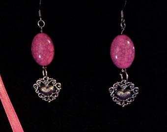 Beautiful silver and pink earrings