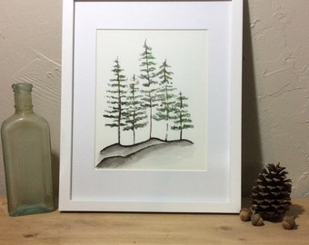 Forest Trees watercolor painting