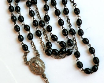 Vintage Black Glass Bead Rosary Necklace A/S no Cross