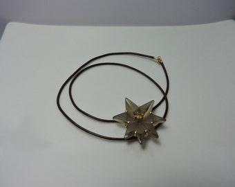 Smoky quartz star pendant with leather choker
