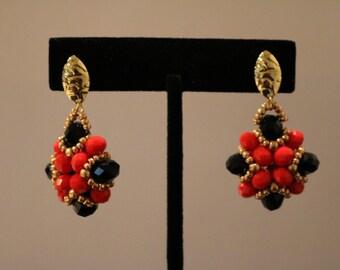 Red & Black Beaded Drop Earrings