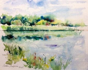 "Watercolour original ""Pond"""
