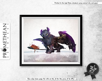How To Train Your Dragon inspired Toothless - watercolor / watercolour and abstract Print - 3 FOR 2