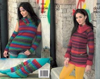 King Cole Riot DK sweater, leg warmers, snood knitting pattern 3216