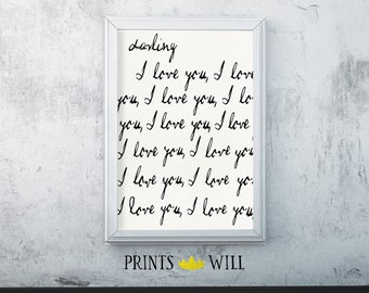 Nursery Decor, Typography Print, Nursery Wall Art, Nursery Printable, Printable Quote, Nursery Art, I Love You, Anniversary Gift