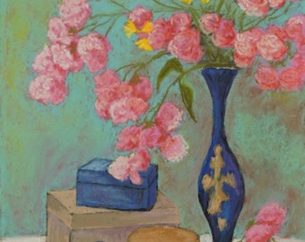 "Floral Still Life Pastel Painting Original Art  ""Blue Vase and Pink Flowers"""