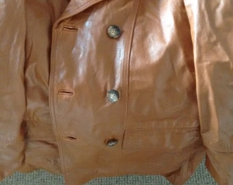 Classic camel leather jacket.