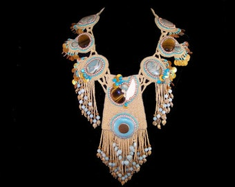 Artisan Created Southwest Necklace - Hand Created Southwest Seed Bead Ceremonial Dance Necklace