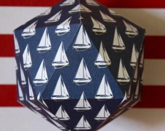 Decorative paper ball - Nautical pattern