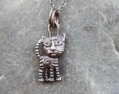 Sushi Cat - Sterling Silver Pendant, cat pendant, 3D printed pendant, silver necklace, designer pendant,  animal jewelry