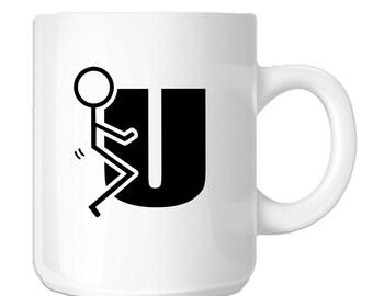 Stick Figure Humping F U (SP-00118) 11 OZ Novelty Coffee Mug