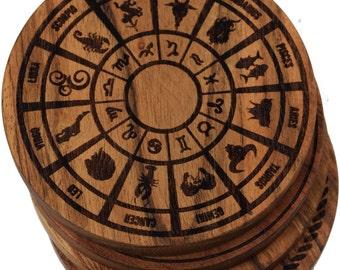 Zodiac Wheel Coasters - Set of 4 Engraved Acacia Wood Coasters