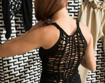 Black wool jersey knee-length open-back dress