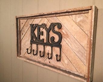 Rustic Key Holder,  reclaimed wood