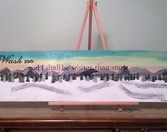 Wash me, I shall be whiter than snow. Psalm 51:7 Handpainted and glittered wood pallet scripture wall art.