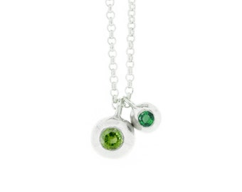 Silver Peridot & Tourmaline Orb Necklace