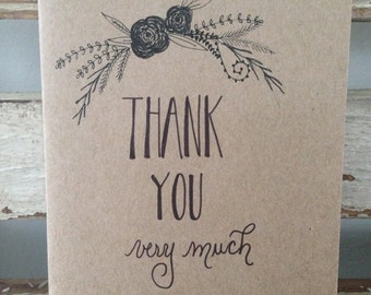 "Set of 3 hand lettered, hand drawn note cards, rustic laurels, black ink on kraft, ""Thank you very much"""