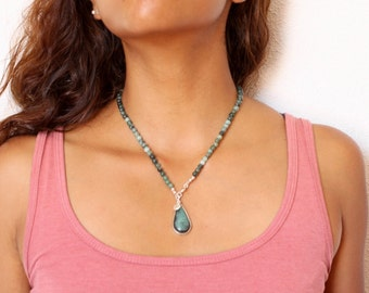 Natural-unica Emerald Necklace to hand-sterling silver