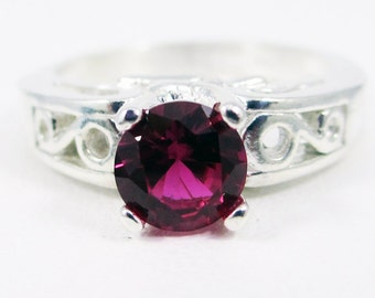 Ruby Filigree Ring Sterling Silver