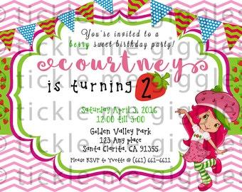 Strawberry Shortcake Party Invitation (digital)