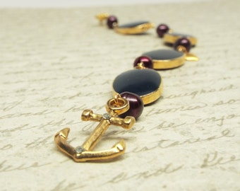 Memories - Gold anchor bracelet with plum purple pearls and gold heart charms