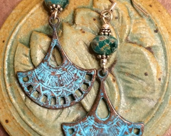 Greek fan patina earrings, patina Jewelry, patina earrings