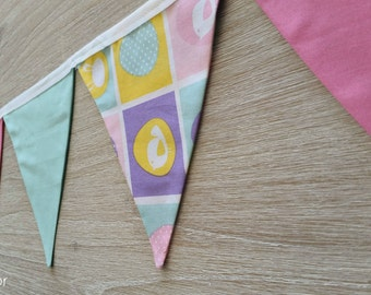 Easter Bunting, double sided fabric pennant flags
