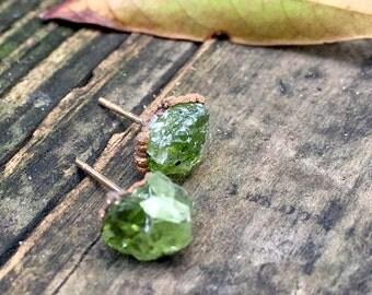 Peridot Earrings, Raw Peridot Earrings, Peridot studs, August Birthstone, Boho gemstone studs, Gold Peridot, Peridot jewelry, Green Stone