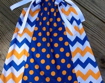 Girls Orange And Blue Pillow Case Dress