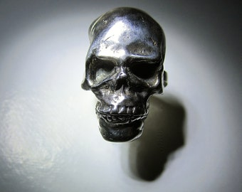 Sterling Silver Gothic Rocker Skull Ring
