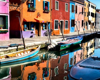 Burano Italy, Canal And Colorful Buildings Photo, Boats Canal, Burano Travel Decor, Large Wall Art, Reflections