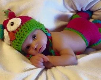 Crochet 0-12 Months Owl Set with Leg Warmers