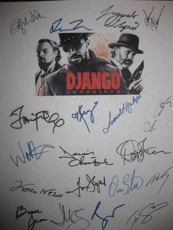 Django Unchained Signed Film Movie Screenplay Script X19 Autograph Quentin Tarantino Jamie Foxx Leonardo DiCaprio Samuel L. Jackson Johnson