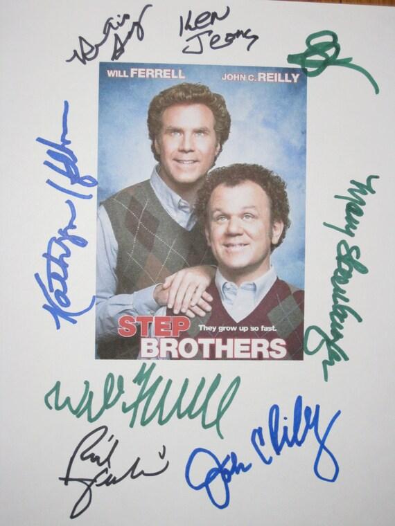 Step Brothers Signed Movie Film Script Screenplay Autographs X8 Will Ferrell John C Reilly Kathryn Hahn Mary Steenburgen Horatio Sanz Jeong