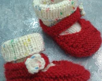 Handmade Baby Slippers, Handknite Booties, Red-white Baby Slippers, Newborn Baby Booties