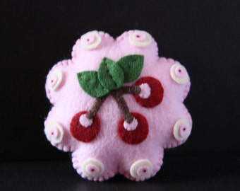 Handmade pincushion, cherry tart pincushion, sewing notion, sewing gift, pin cushion