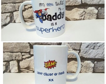superhero mug daddy fathers day birthday gift occasion