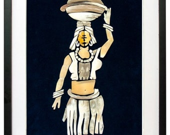 """Cow Horn Crafts,Handcrafted Horn Collage(Wall Hanging),Crafted Horn Keys Chain: Fulani Milk Lady-ID21-12""""W x 16""""H"""