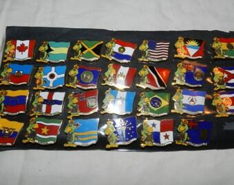 10th Pan Am Games pins - Amigo the Parrot - Mascot - 27 souvenir pins from 1987 Indianapolis 10th Pan Am Games - Pins made in USA        9-8