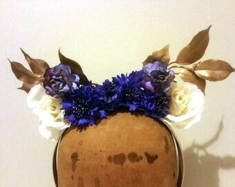 Flower Crown - Blue/Purple & Metallic Gold Fascinator