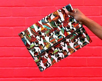 Harvest Time African Print Fold Over Clutch