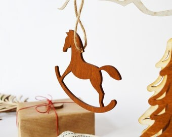 Rocking Horse Christmas Ornament Wooden Rocking Horse Wooden Ornament Vintage Christmas Christmas Horse Wooden Horse Holiday Decor