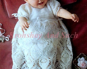 Crochet Baby Christening Gown, Crochet Pattern, PDF Instant Download.